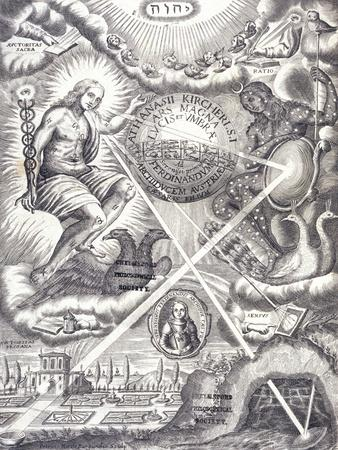 Frontispiece from Athanasius Kircher's Ars Magna Lucis Et Umbrae--Framed Giclee Print