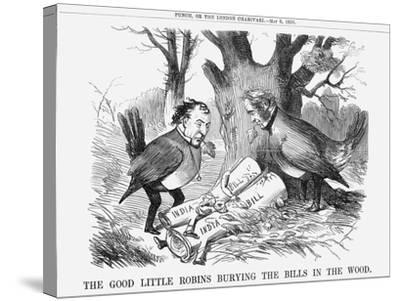 The Good Little Robins Burying the Bills in the Wood, 1858--Stretched Canvas Print