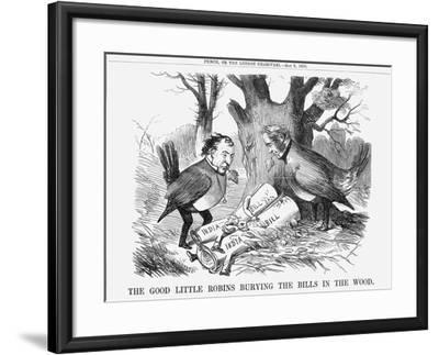 The Good Little Robins Burying the Bills in the Wood, 1858--Framed Giclee Print