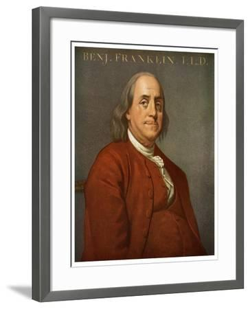 Benjamin Franklin, American Scientist and Politician, 1782-Joseph of Derby Wright-Framed Giclee Print