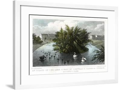 Island on the Lake and Part of Cornwall and Clarence Terraces, Regent's Park, London, 1828-William Tombleson-Framed Giclee Print