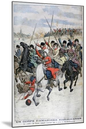 Female Siberian Cossack Cavalry Corps, Russo-Japanese War, 1904--Mounted Giclee Print