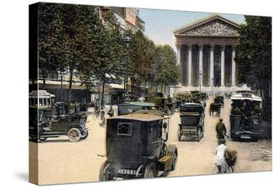 Rue Royale and the Madeleine, Paris, with Cars and a Motorbus on the Street, C1900--Stretched Canvas Print