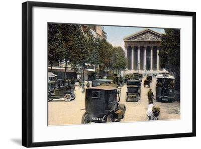 Rue Royale and the Madeleine, Paris, with Cars and a Motorbus on the Street, C1900--Framed Giclee Print