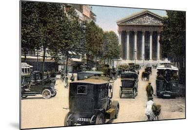 Rue Royale and the Madeleine, Paris, with Cars and a Motorbus on the Street, C1900--Mounted Giclee Print