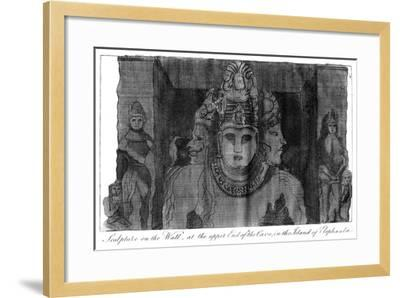 Sculpture on the Wall at the Upper End of the Cave, Island of Elephanta, India, 1799--Framed Giclee Print