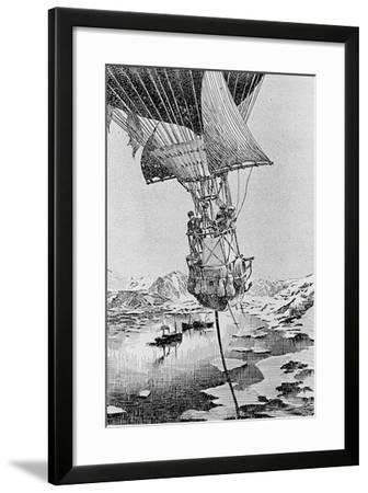 Departure of the Andree Balloon Expedition to the North Pole, Spitzbergen, 1897--Framed Giclee Print