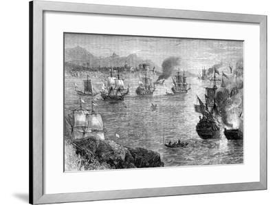 Captain Morgan's Defeat of the Spanish Fleet, 1660S--Framed Giclee Print