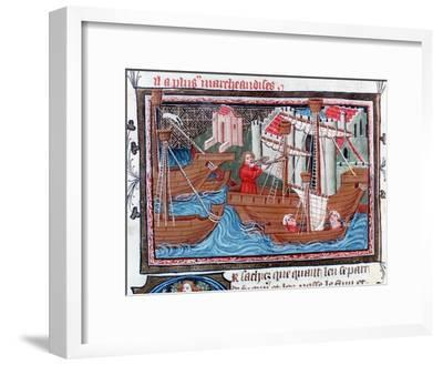 Indian Sailing Ships Described by Marco Polo, 15th Century--Framed Giclee Print