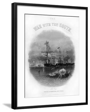 Fleet Passing the Fort and Obstructions, Battle of Mobile Bay, August 5, 1864--Framed Giclee Print