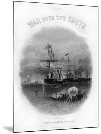 Fleet Passing the Fort and Obstructions, Battle of Mobile Bay, August 5, 1864--Mounted Giclee Print