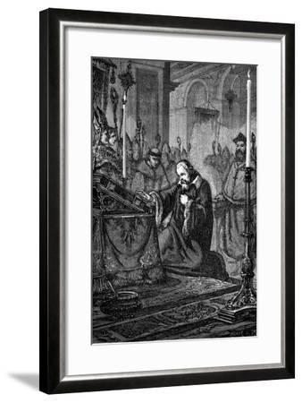 Galileo Galilei, Italian Astronomer and Mathematician Recanting, 1633--Framed Giclee Print