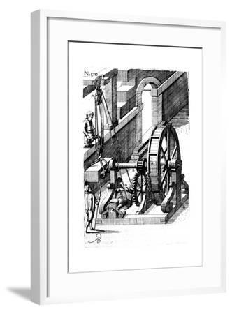 Raising a Slab of Stone Using a Block-And-Tackle Mechanism, 1620--Framed Giclee Print