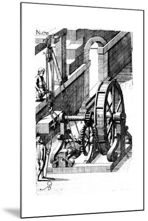 Raising a Slab of Stone Using a Block-And-Tackle Mechanism, 1620--Mounted Giclee Print
