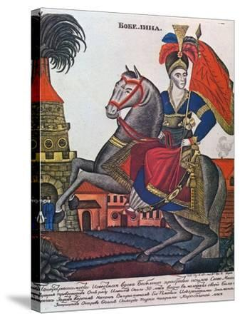 Laskarina Bouboulina, Heroine of the Greek War of Independence, Lubok Print, Early 19th Century--Stretched Canvas Print