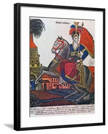 Laskarina Bouboulina, Heroine of the Greek War of Independence, Lubok Print, Early 19th Century--Framed Giclee Print