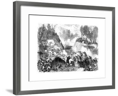 Spanish Troops Fighting the People of Santo Domingo, in the Pass of Monte Christi, 1864--Framed Giclee Print