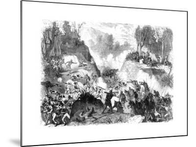 Spanish Troops Fighting the People of Santo Domingo, in the Pass of Monte Christi, 1864--Mounted Giclee Print