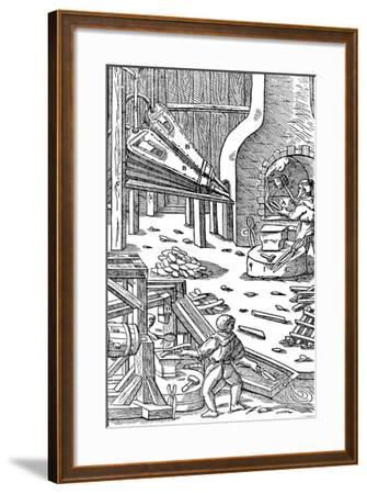 Steel Production: a Forge with Bellows to Produce Draught, 1556--Framed Giclee Print