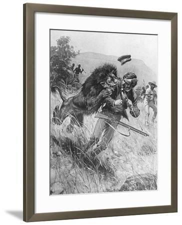 Scottish Missionary and Explorer David Livingstone Being Attacked by a Lion, Africa, 19th Century--Framed Giclee Print