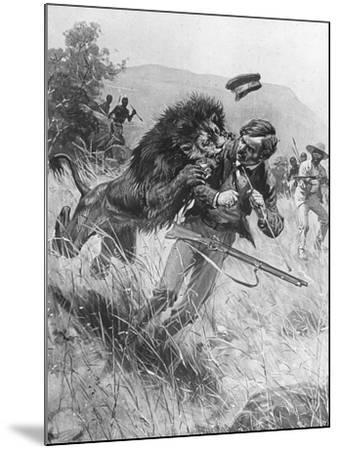 Scottish Missionary and Explorer David Livingstone Being Attacked by a Lion, Africa, 19th Century--Mounted Giclee Print