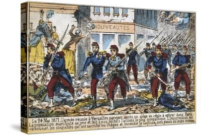 Government Soldiers Advancing into Paris to Suppress the Commune, 24th May 1871--Stretched Canvas Print