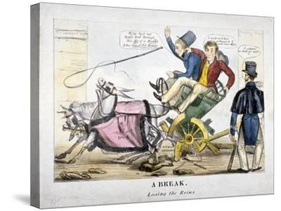 A Break, Losing the Reins, 1830--Stretched Canvas Print