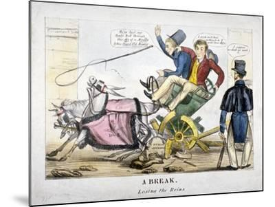 A Break, Losing the Reins, 1830--Mounted Giclee Print