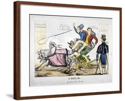 A Break, Losing the Reins, 1830--Framed Giclee Print