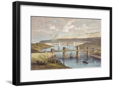 The Britannia Tubular Bridge, Menai Strait, Wales, C1850--Framed Giclee Print