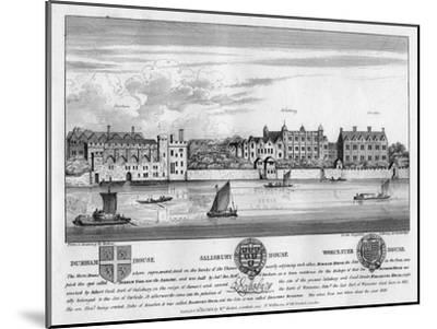 Durham House, Salisbury House, and Worcester House, London, C1630-Wenceslaus Hollar-Mounted Giclee Print