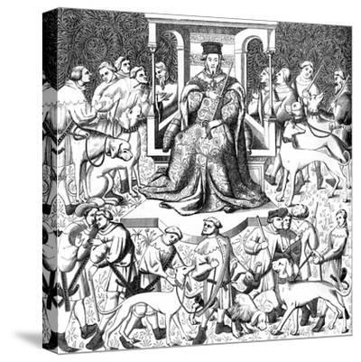 Gaston Phoebus Teaching the Art of Venery, 15th Century--Stretched Canvas Print