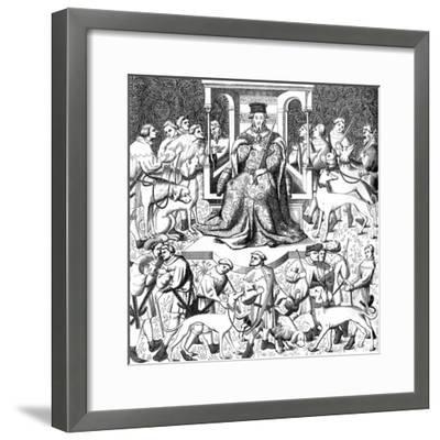 Gaston Phoebus Teaching the Art of Venery, 15th Century--Framed Giclee Print