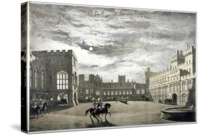 Moonlit View of the Upper Ward of Windsor Castle, Berkshire, C1844--Stretched Canvas Print