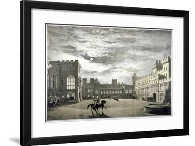 Moonlit View of the Upper Ward of Windsor Castle, Berkshire, C1844--Framed Giclee Print