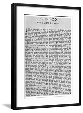 Universal Language: the First Page of the Bible in Esperanto, 1956--Framed Giclee Print