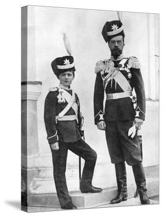 Tsar Nicholas II of Russia and His Son, Alexei, in Military Uniform, C1910-C1916--Stretched Canvas Print