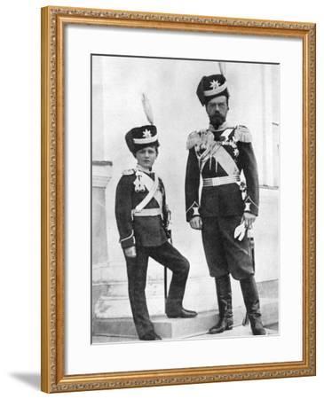 Tsar Nicholas II of Russia and His Son, Alexei, in Military Uniform, C1910-C1916--Framed Giclee Print