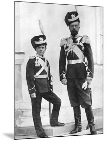 Tsar Nicholas II of Russia and His Son, Alexei, in Military Uniform, C1910-C1916--Mounted Giclee Print