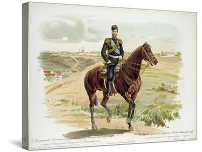 Tsar Nicholas II of Russia in the Uniform of the Nizhny Novgorod Dragoon Regiment, 1896--Stretched Canvas Print