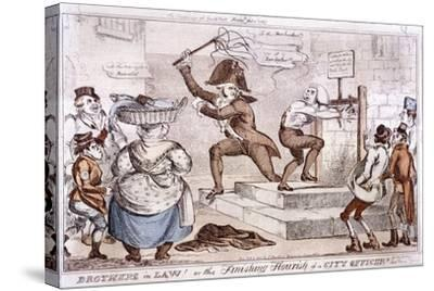 Brothers in Law! or the Finishing Flourish of a City Officer!!, 1827--Stretched Canvas Print