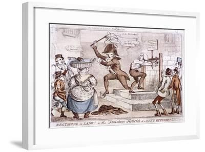Brothers in Law! or the Finishing Flourish of a City Officer!!, 1827--Framed Giclee Print