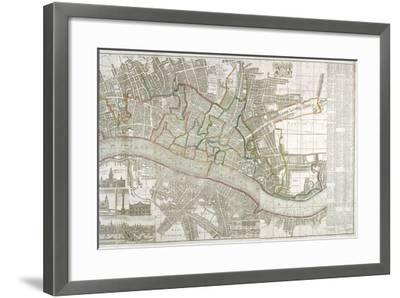 Map of Westminster, the City of London, Southwark and Surrounding Areas, 1743--Framed Giclee Print