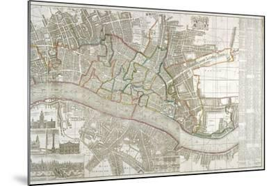 Map of Westminster, the City of London, Southwark and Surrounding Areas, 1743--Mounted Giclee Print