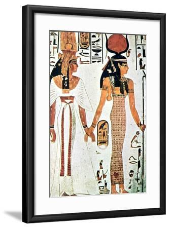 Nefertari and Isis, Ancient Egyptian Wall Painting from a Theban Tomb, 13th Century Bc--Framed Giclee Print
