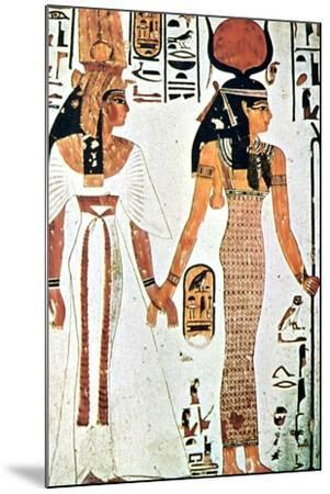 Nefertari and Isis, Ancient Egyptian Wall Painting from a Theban Tomb, 13th Century Bc--Mounted Giclee Print
