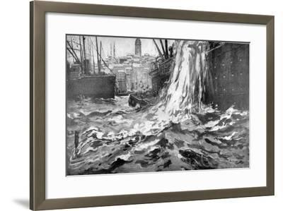 Sinking of the Merchant Ship 'Stamboul, Istanbul Harbour. May 25th 1915--Framed Giclee Print