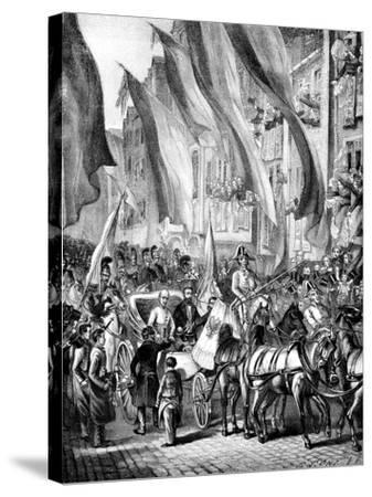 Entry of Archduke John of Austria into Frankfurt, Germany, 11 July 1848--Stretched Canvas Print