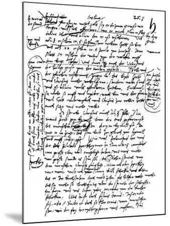 Facsimile of Martin Luther's Handwriting, 1903--Mounted Giclee Print