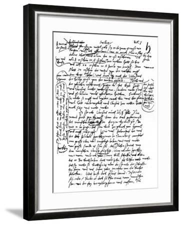 Facsimile of Martin Luther's Handwriting, 1903--Framed Giclee Print